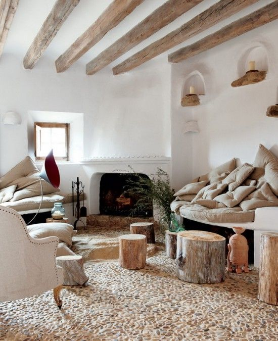 stucco makes the walls look perfect and hides all the imperfections and stone floors are gorgeous