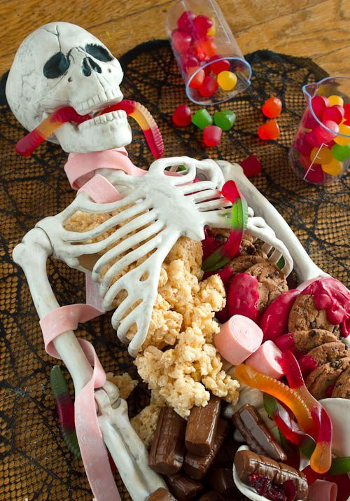 skeleton dessert display will make your party really amazing