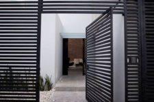 modern metal grid front door