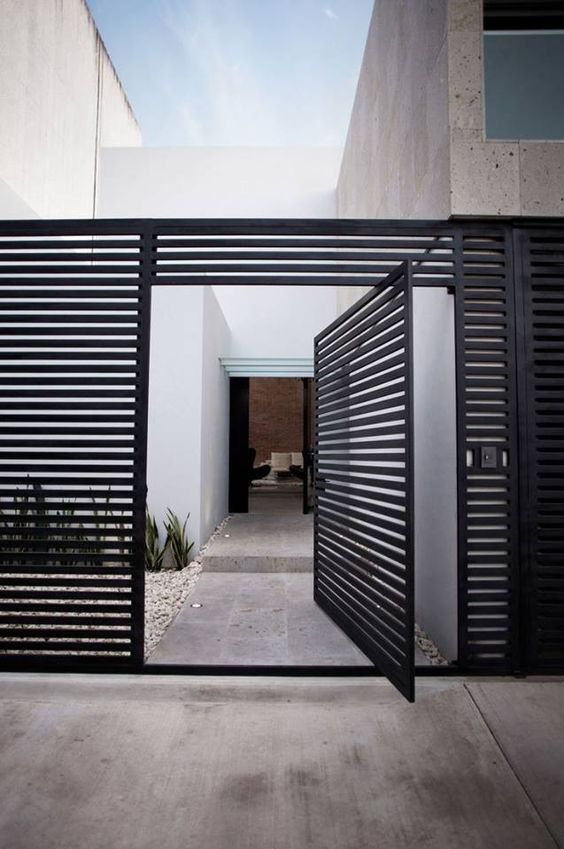 modern metal grid front door