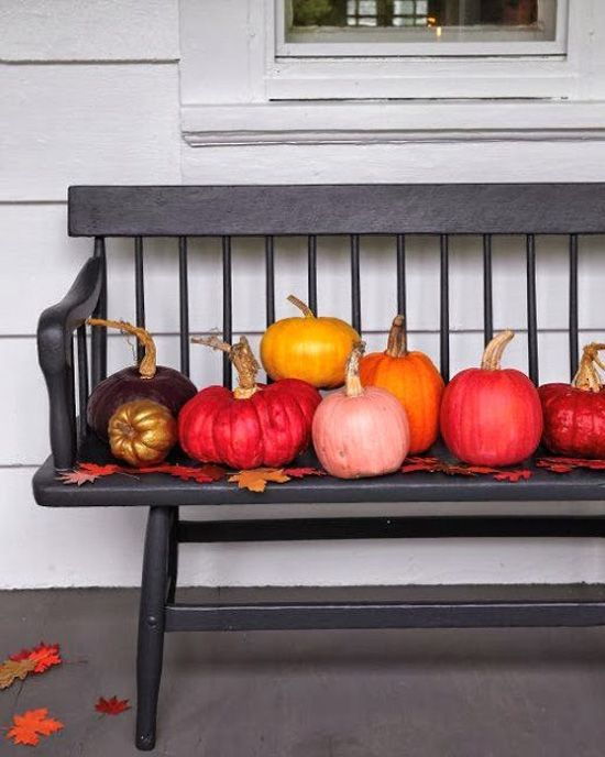 colorful fall pumpkins displayed on a bench of your porch is a chic and bold idea