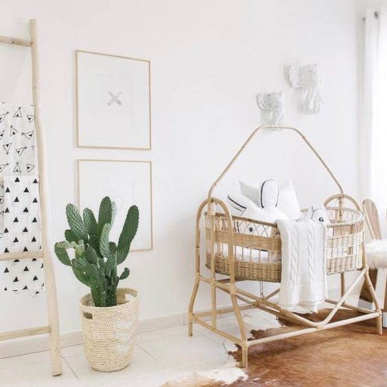 a cute wicker crib and a basket to cover the pot, and a ladder are amazing for a serene rustic feel