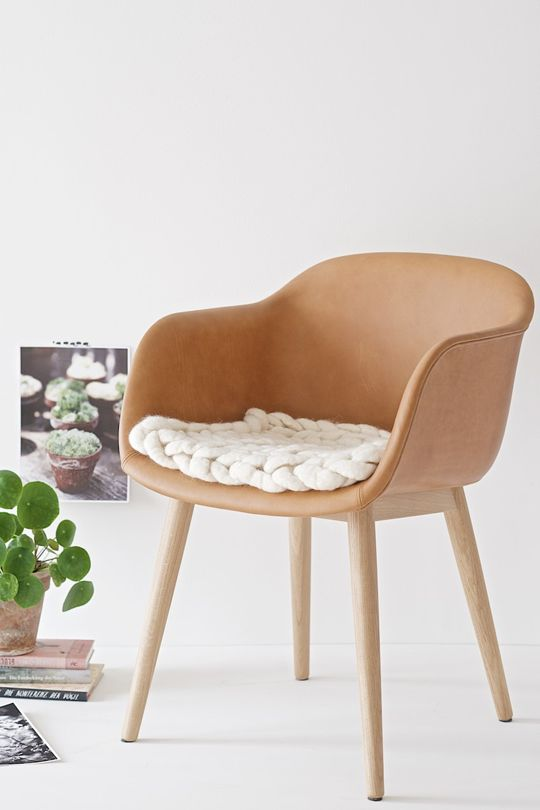 add a chunky cover to your usual chair to make it cozier and warmer