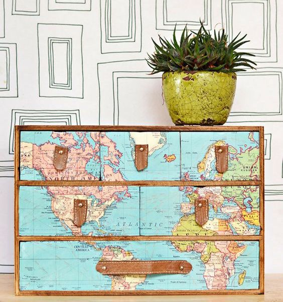 chic Ikea Moppe hack with maps and leather handles for a travel-inspired touch