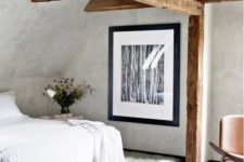 14 stucco walls are perfect for a vintage-inspired space, and wooden beams add coziness