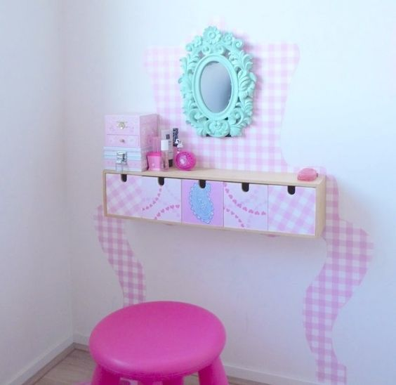 Ikea Moppe hacked into a glam girl's vanity with pink contact paper