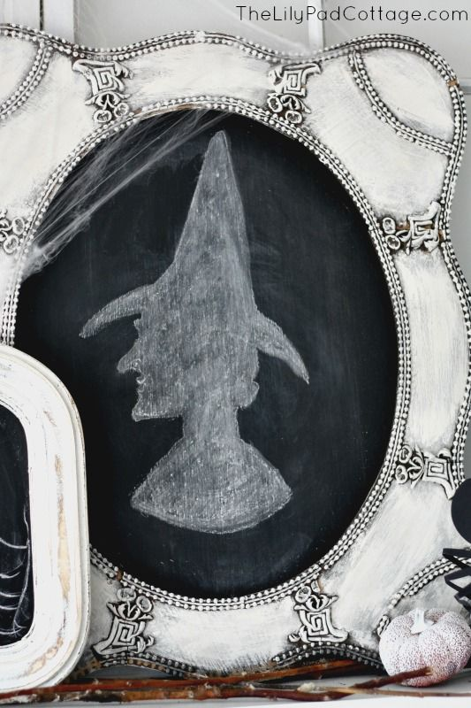 a vintage witch portrait made of a vintage picture frame and a chalkboard piece
