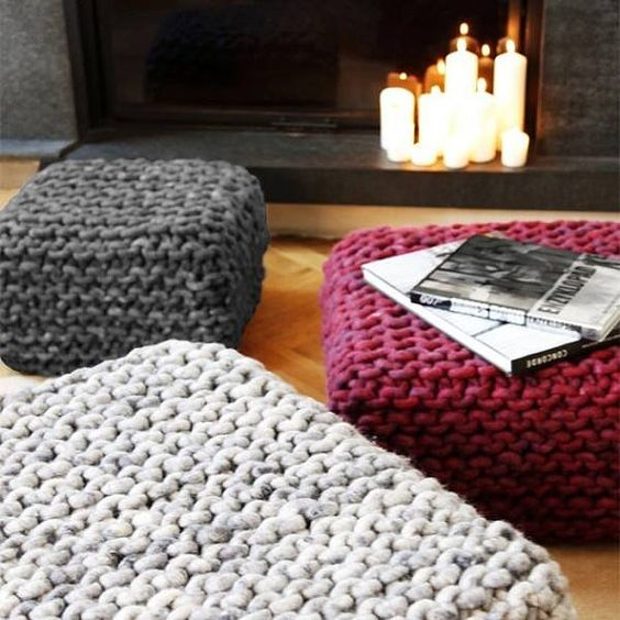 chunky merino wool poufs in various colors will brighten up your space for the fall