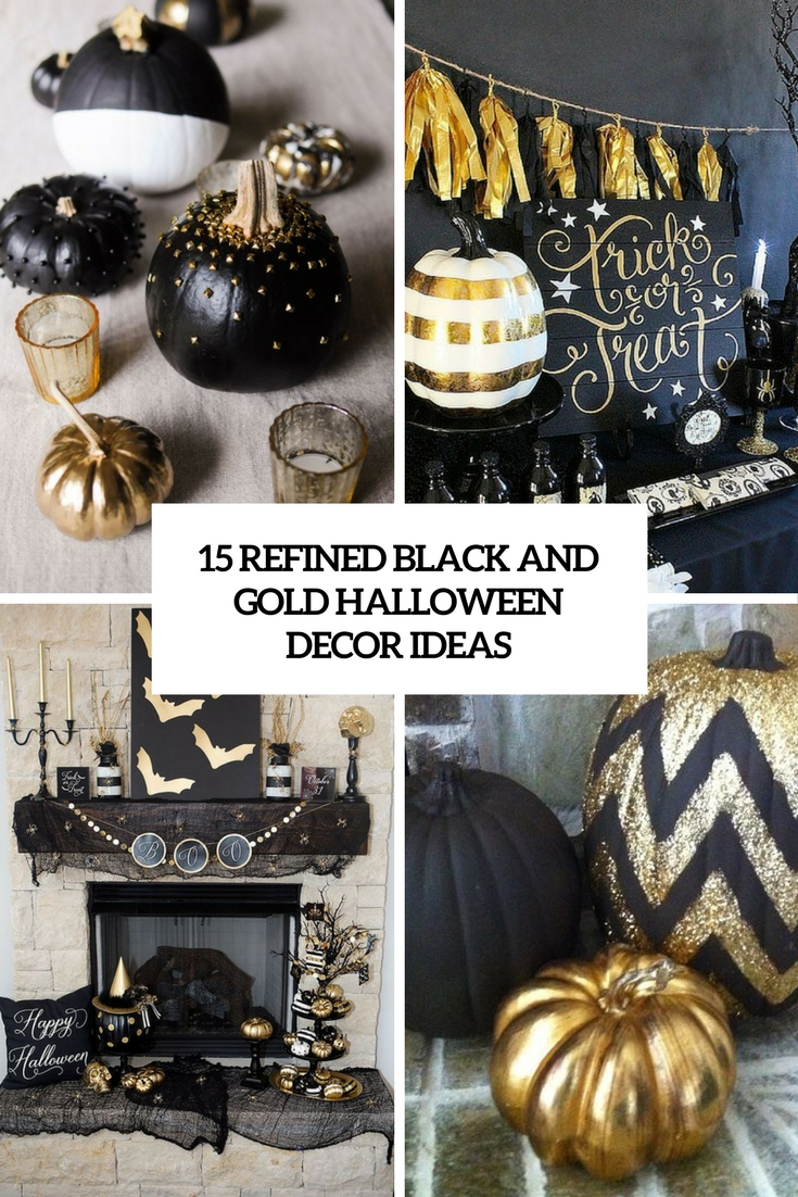 refined black and gold halloween decor ideas cover