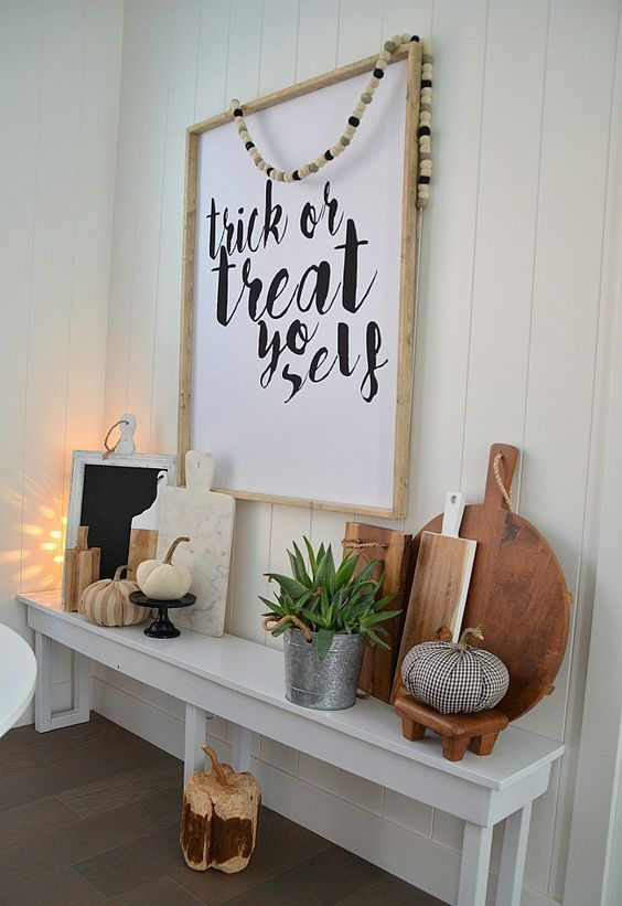 oversized sign with calligraphy is a modern and fresh idea for a Halloween party