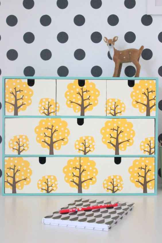 wallpaper hack for a kids' space - choose bold colors and fun prints