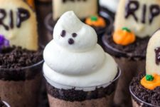 18 chocolate graveyard desserts in cups for each kid to enjoy