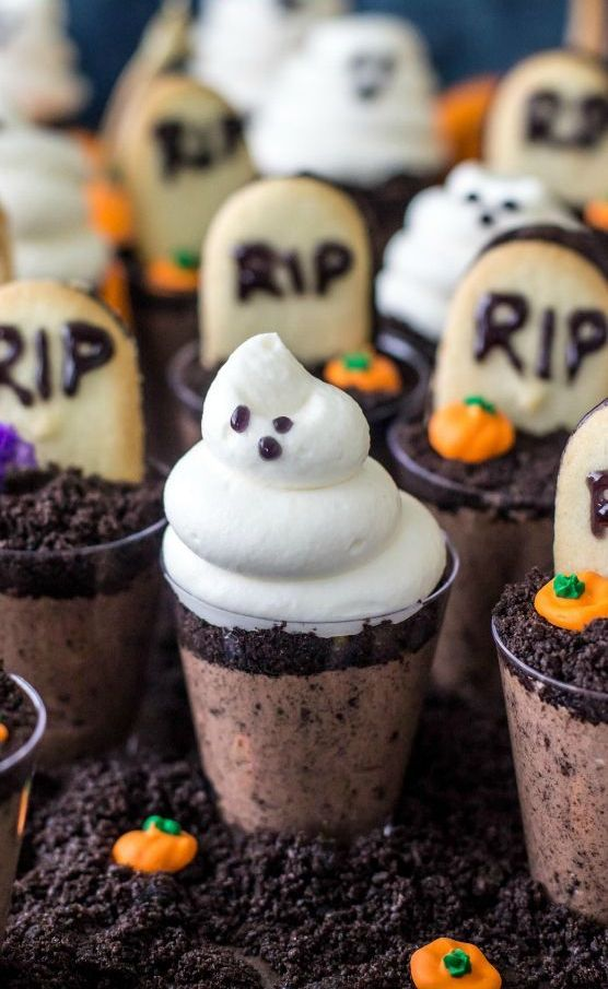 chocolate graveyard desserts in cups for each kid to enjoy