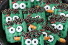 20 Frankenstein pretzels look super cute and will bring much fun to your kids