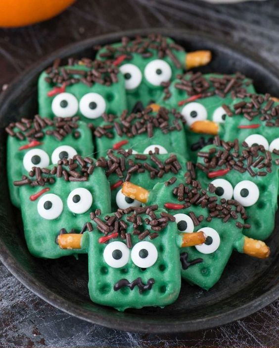 Frankenstein pretzels look super cute and will bring much fun to your kids