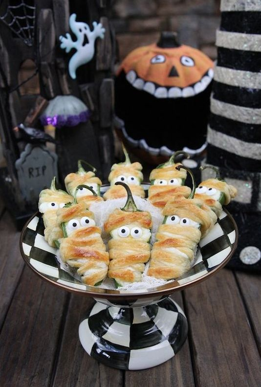 Halloween jalapeno peppers are a cute and simple snack you can easily make