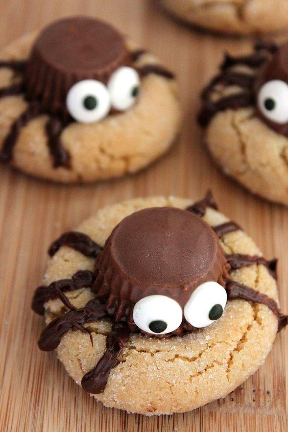 Halloween peanut butter spider cookies will excite your children
