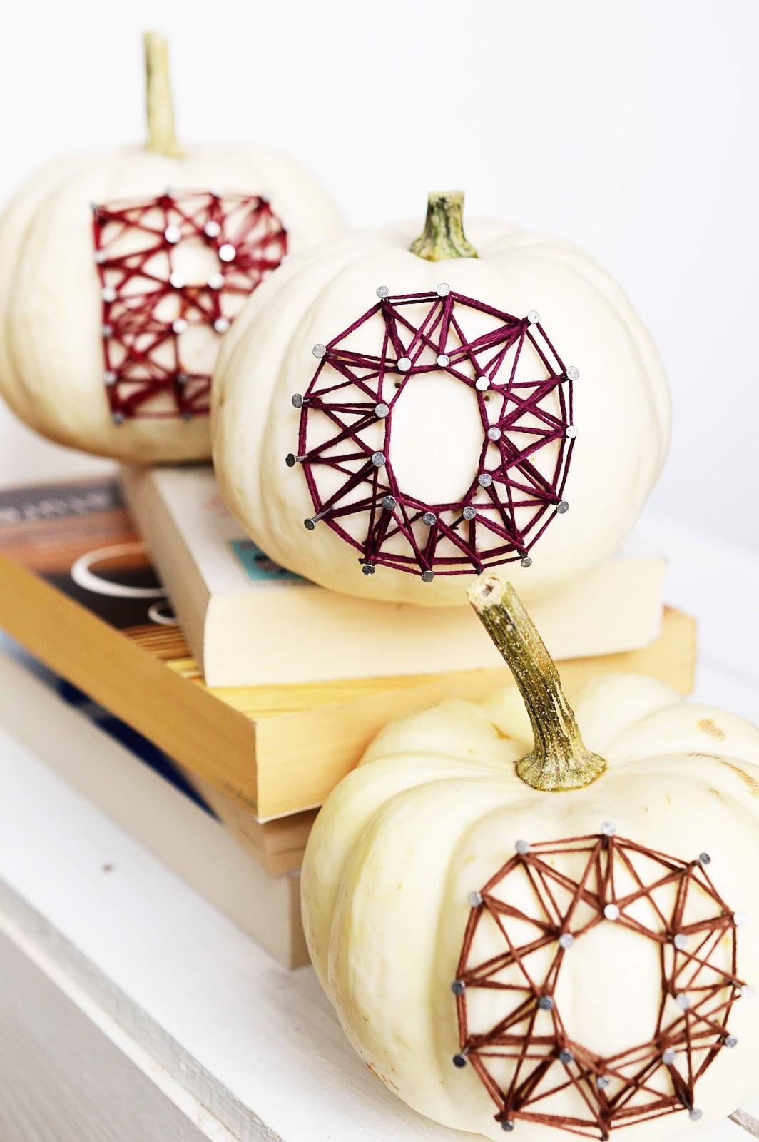 DIY BOO string art on pumpkins