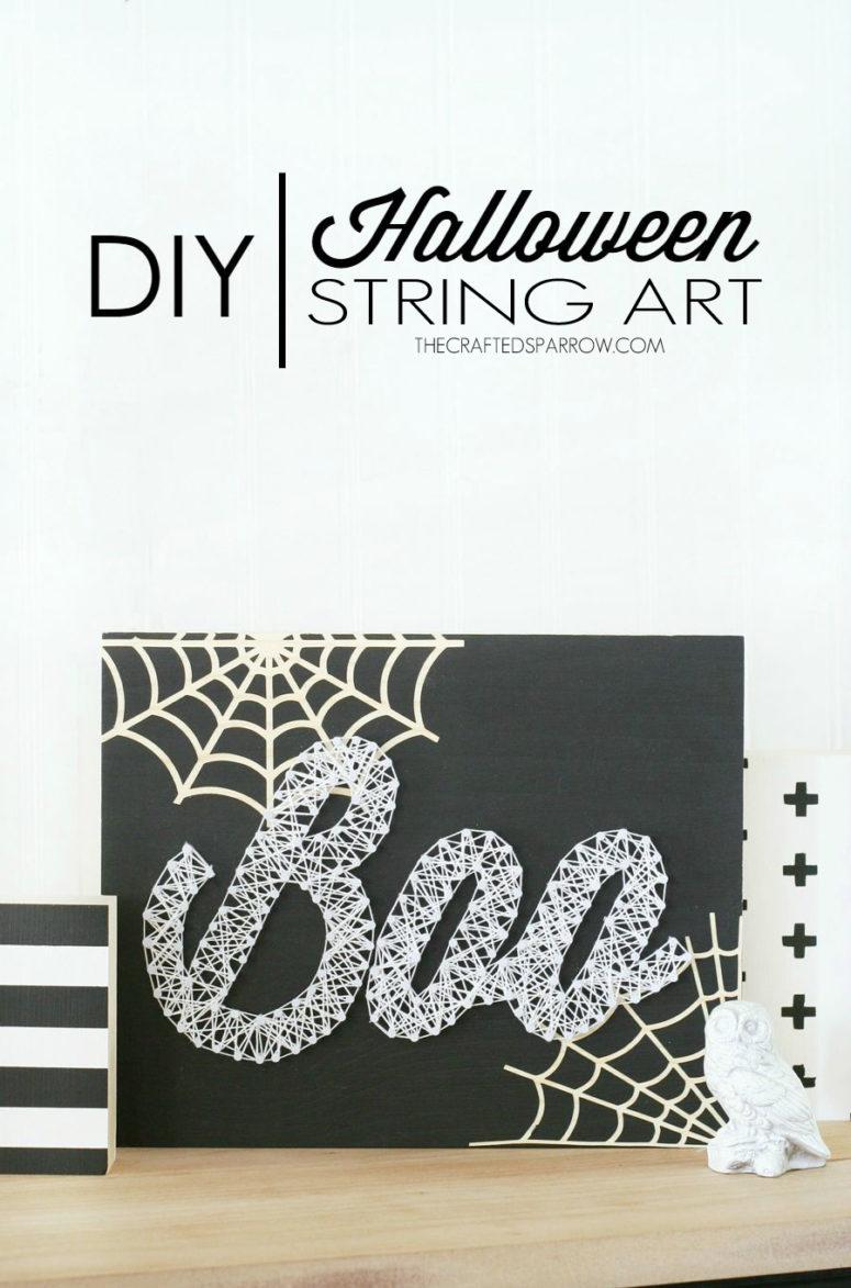 DIY black and white Boo string art (via www.thecraftedsparrow.com)