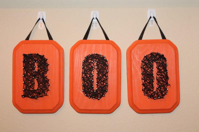 DIY orange and black string art (via https:)