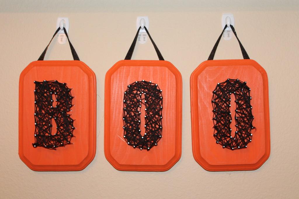 DIY orange and black string art