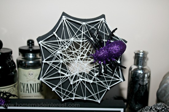 DIY Halloween spider web string art