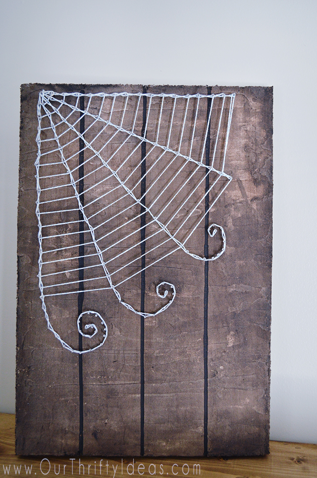 DIY Halloween string art sign
