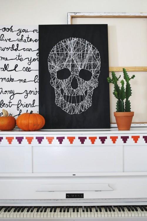 DIY black and white skull art