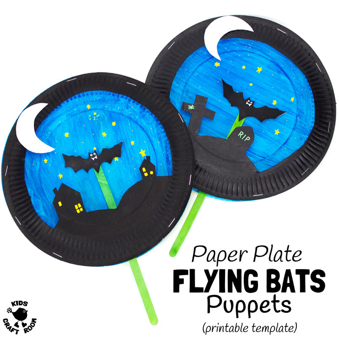 DIY paper plate bat puppet craft (via kidscraftroom.com)