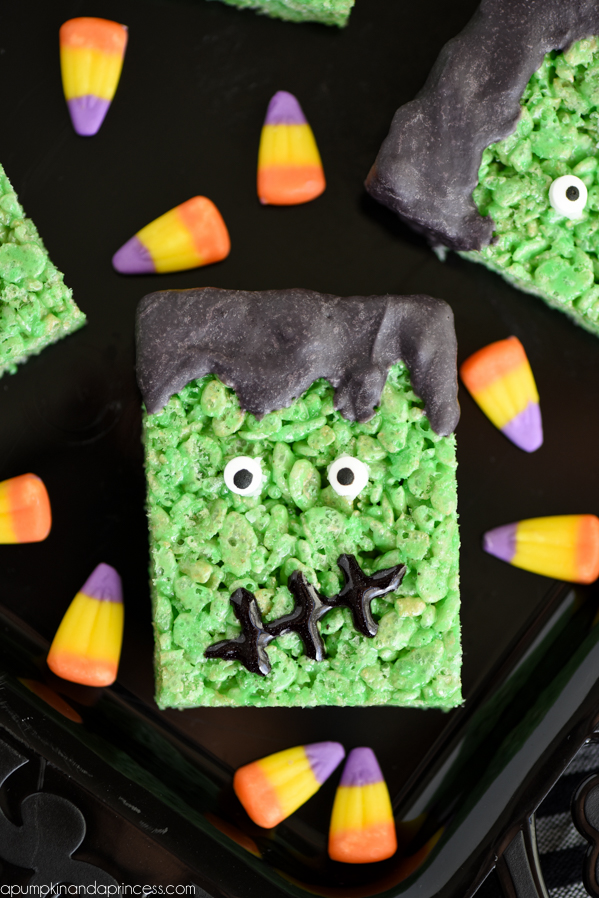 DIY Frankenstein rice krispie treats (via apumpkinandaprincess.com)
