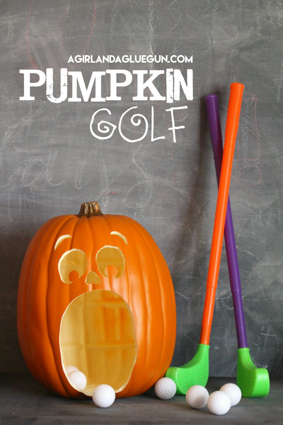 DIY pumpkin golf