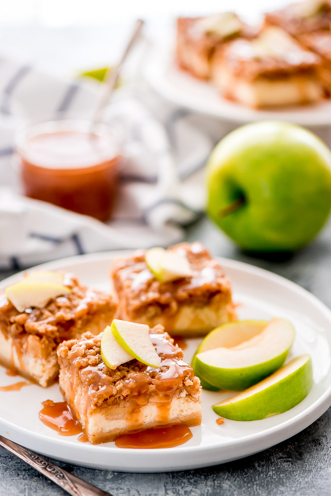 DIY caramel apple cheesecake bars