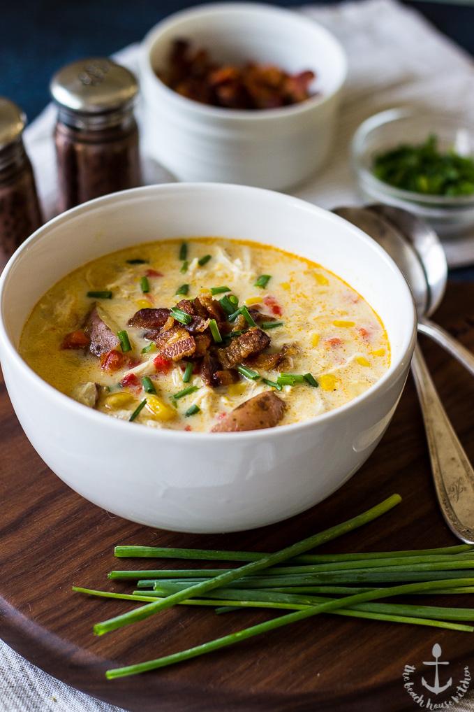 DIY creamy chicken corn chowder with bacon (via https:)
