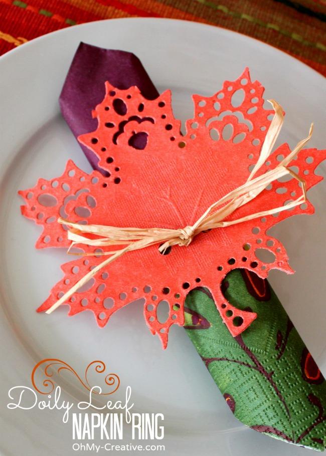 DIY fall doily leaf napkin ring (via https:)