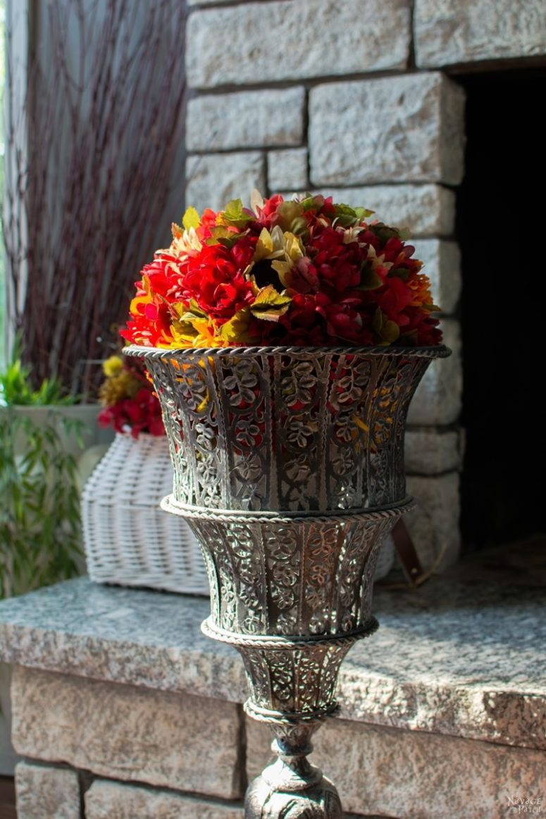 DIY Faux Fall Flower Topiary In A Vintage Urn Via