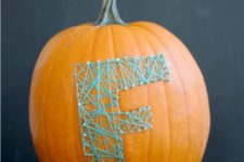 DIY colorful string art pumpkin