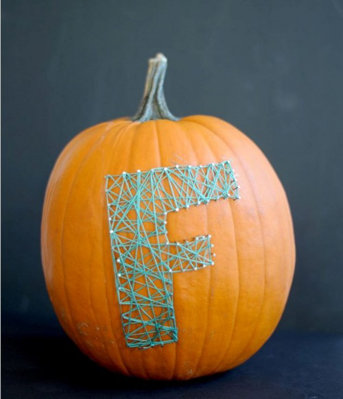 DIY colorful string art pumpkin (via www.shelterness.com)