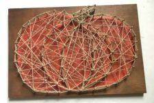 DIY colorful pumpkin string art craft