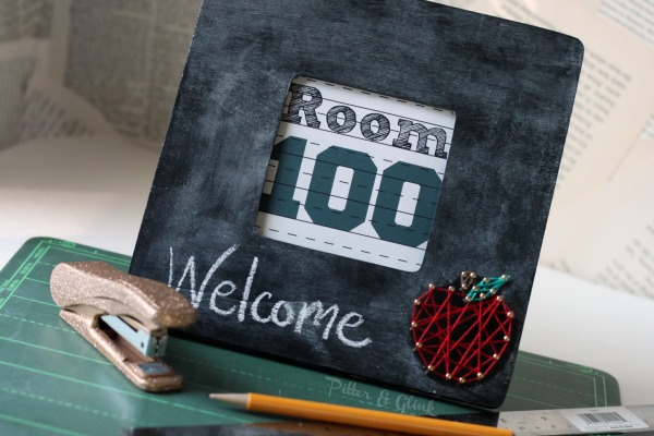 DIY string art apple chalkboard frame (via www.pitterandglink.com)