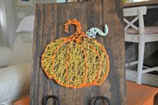 DIY dimensional-looking pumpkin string art