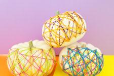 DIY colorful string art pumpkins