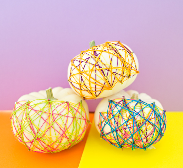 DIY colorful string art pumpkins (via https:)
