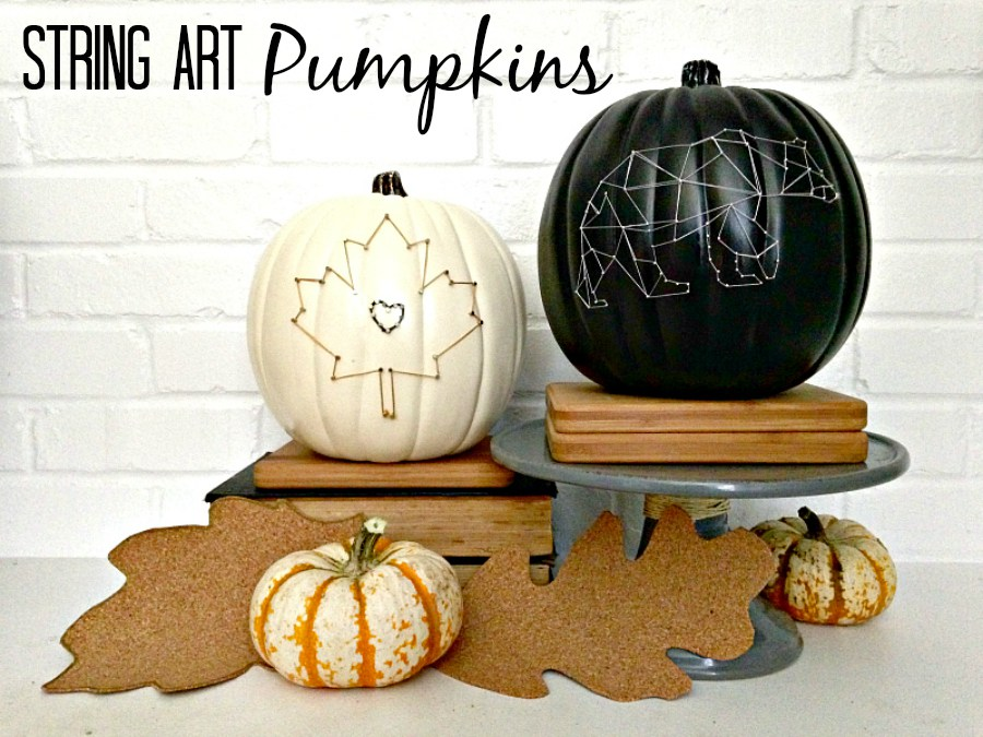 DIY chic black and white string art pumpkins