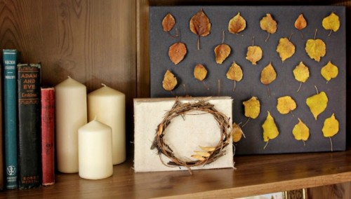 DIY fall art piece of natural materials (via www.shelterness.com)