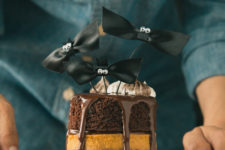 DIY chocolate and pumpkin pie layer cake
