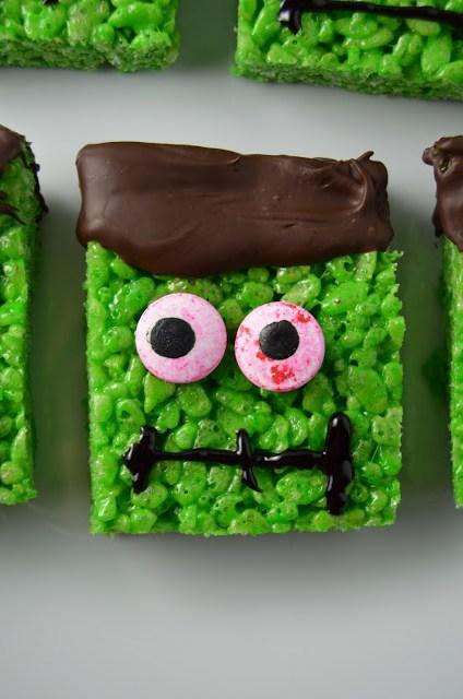 DIY Frankenstein krispie squares (via www.atasteofmadness.com)