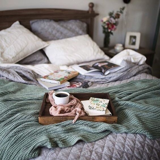 greys, creamy shades and a crochet olive green blanket are an ideal combo for the fall