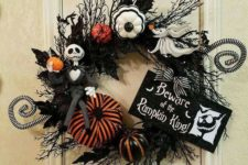 03 a Halloween wreath with colorful pumpkins and Jack Skellington is ideal for such a party