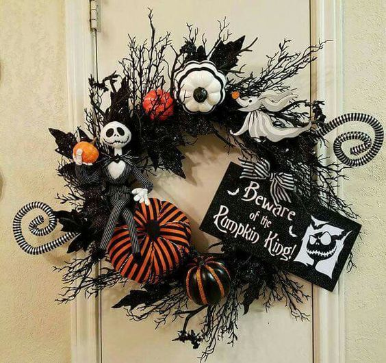 a Halloween wreath with colorful pumpkins and Jack Skellington is ideal for such a party