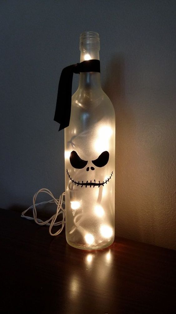 Jack Skellington wine bottle lantern with LEDs is another easy craft to try